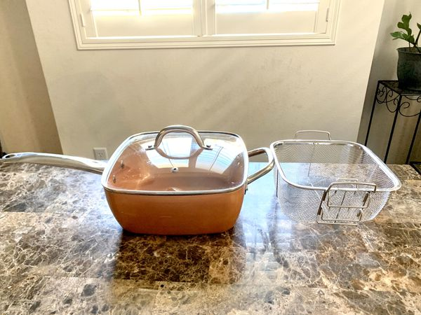 Copper Chef pan with lid & steam/fry basket