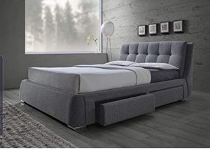 Upholstered Queen bed grey /chrome new for Sale in Los Angeles, CA