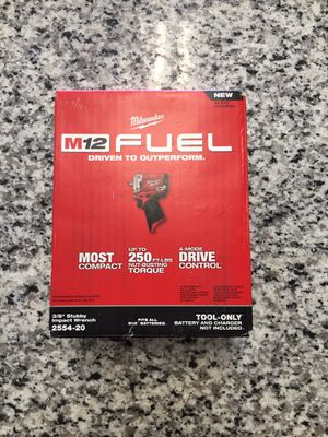 """Brand New Milwaukee 2554-20 M12 Fuel 3/8"""" Stubby Impact Wrench (Tool-Only) #16150-3 for Sale in Revere, MA"""