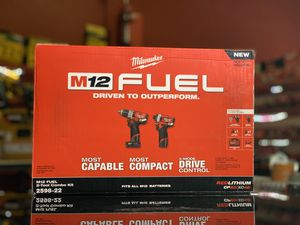 MILWAUKEE M12 2GEN FUEL CORDLESS COMBO KIT IMPACT,HAMMER DRILL 1-4.0AH 1-20AH BATTERIES CHARGER AND BAG for Sale in Turlock, CA