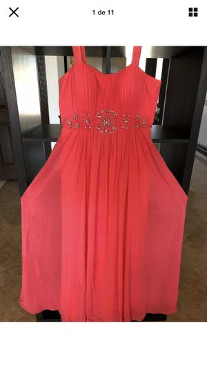 Womens Dress With Bright Details In Front Veil chest folds Size L Light Orange for Sale in Cincinnati, OH