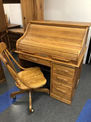 Solid oak roll top desk with chair for Sale in Riverside, CA