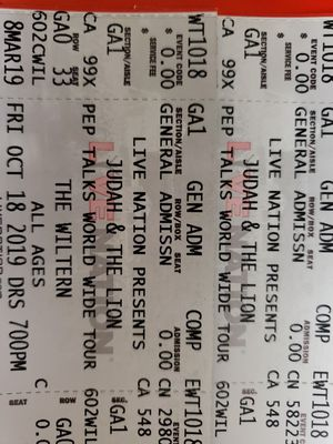 (2) Judah & The Lion at the Wiltern Oct 18 for Sale in Alhambra, CA