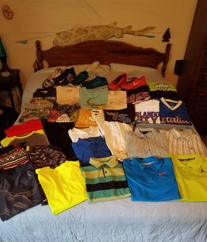 """Boys Clothes """"Bed Full Of Children's Clothes and Shoes"""" 32 Items, Clothes Sizes 10-16 for Sale in Orlando, FL"""