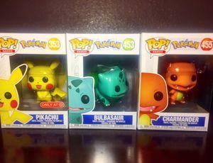 The Trifecta: POKEMON (Detective Pikachu) Pikachu, Bulbasaur, Charmander Funko POP! Vinyl / Perfect Mother's Day Gift / Figurine / Collectible / Bobb for Sale in Corona, CA