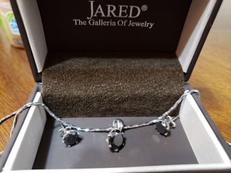 1.5 carat black diamond & sterling silver necklace and earring set for Sale in Mount Juliet,  TN