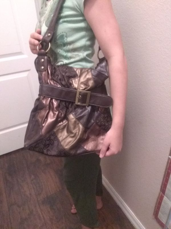 Faux leather and canvas shoulder bag with coffee bean pattern