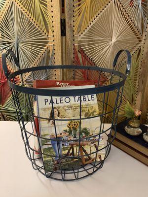 Blue Metal Basket w/ Handles for Sale in Kent, WA