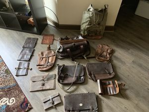 Men's Leather accessories, bags, backpacks, messenger bags, book covers. for Sale in Spring, TX