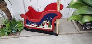 Large wood Christmas tree sled sleigh frosty the snowman Santa Claus 🎅 home decor for Sale in Orange, CA