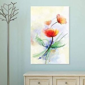 ((FREE SHIPPING)) Canvas wall art - watercolor style abstract red flowers modern home decor Painting like print for Sale in New York, NY