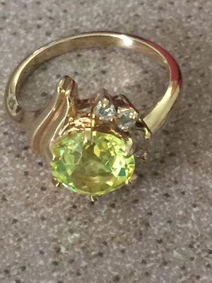 14k Yellow Gold Natural 1.5ct Yellow Quartz & Diamond Ladies Ring for Sale in Santa Ana, CA