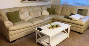 Leather Beige Couch / Sectional . for Sale in Columbus, OH