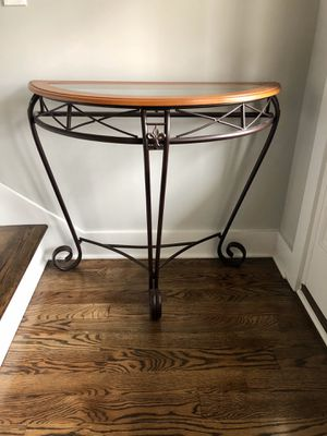 Table Metal Wood Scrolled Classic Entryway Mahogany Black for Sale in Smyrna, TN