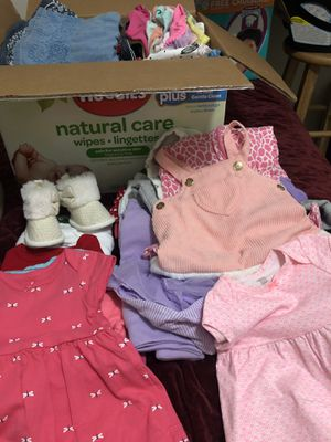 Diapers/ box full of baby girl cloths for Sale in Peoria, AZ