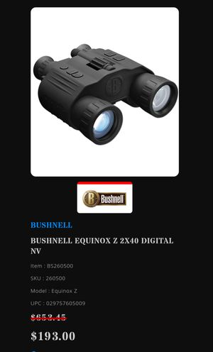 Bushnell night vision binoculars for Sale in Roanoke, VA