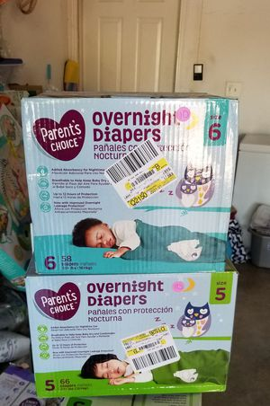 Parents choice overnight diapers size 5 or 6 $10 each pk for Sale in Riverside, CA