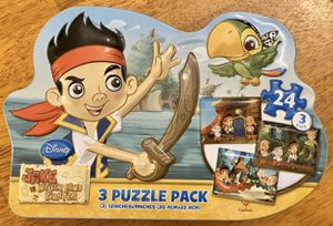 Jake And The Never Land Pirates Ship Shaped Tin Multi-Pack 24 Piece Puzzle Kids Game Toy for Sale in Chapel Hill, NC