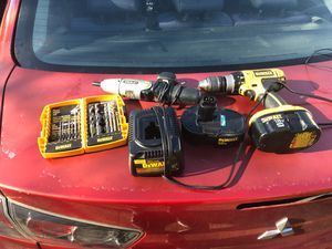 Drills and tool bits with 2 battery packs for Sale in Norfolk, VA