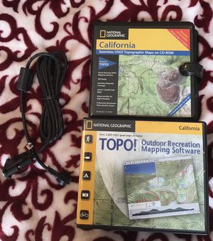 Nat Geo Topographic maps of California and Garmin data cable for Sale in Monterey, CA