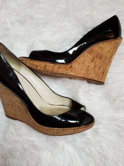 ALDO BLACK GLOSSY PEEP TOE CORK BOTTOM WEDGES! for Sale in Taunton,  MA