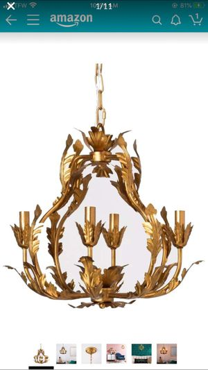 Tole Chandelier Italian Gold Iron Pendant Lamp Light Opalhouse Dining Room Decor for Sale in Los Angeles, CA
