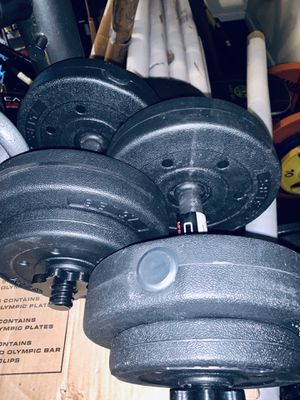 Adjustable vinyl dumbbell set 45 lbs total for Sale in Davie, FL