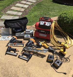 Used, 4 pneumatic nail guns and 2 18V power tools &compressor for Sale for sale  Middletown, NJ