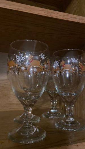 Christmas reindeer water glasses for Sale in Peoria, IL