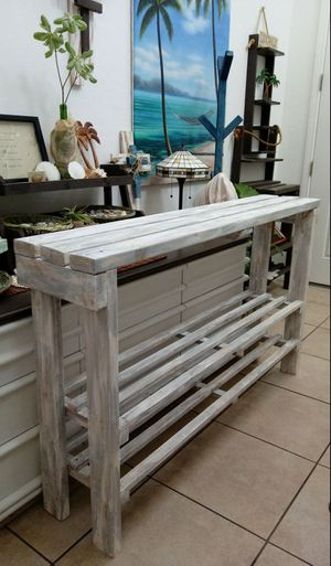 """36""""H X 60""""W X 12""""D (3 Planks) 🌱Solid Wood Entryway Console/Coffee Buffet/TV/Garden Table with 2 Shelves ::: Rustic Distressed Still Gray/White for Sale in Las Vegas, NV"""