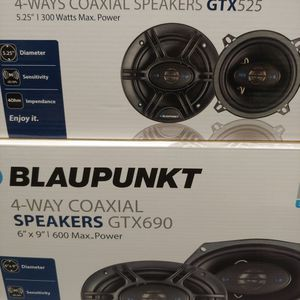 Car speakers : ( total 2 PAIRS ) 1 Pair Blaupunkt 5 1/4 Inch 4 Way 300 Watts & 1 Pair 6×9 4 way 600 watts car speakers new for Sale in Bell Gardens, CA