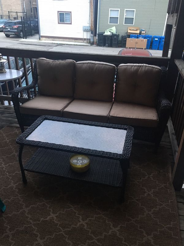 Outdoor Patio Furniture - Coffee Table, Rug, Throw Pillows