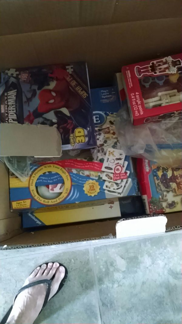 Box of kids games used but not destroyed