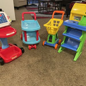 Toys , cart , food cart , medically cart , cashier register for Sale in Portland, OR