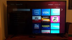 "55"" TCL Roku smart tv. HAS BACKLIGHT ISSUES on 2/3 screen. can be repaired at reasonable cost by a DIYer. includes remote (no battery door). 2yrs old. for Sale in Pekin, IL"