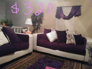 """Sofa & Loveseat, 55"""" Tv, Table & 4 Red high chairs, King bed for Sale for sale  Ellenwood, GA"""