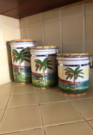 Kitchen - 3 palm tree cookie jars for Sale in La Verne, CA
