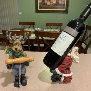Santa And Reindeer Bottle Caddy With Corkscrew (bottle not Included) for Sale in Kearny, NJ