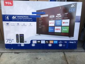 """75"""" TCL 75S423 4k UHD HDR Roku Smart Tv 2160P (FREE DELIVERY) for Sale in Tacoma, WA"""