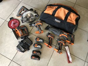 Rigid Cordless Tool Set Combo with batteries and charger for Sale in Oceanside, CA