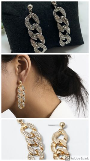 Simple crystal hip hop chain gold drop earrings, Silver and Gold (Set of 2) for Sale in Los Angeles, CA