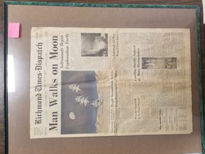 Moon landing newspaper Richmond times framed for Sale in Spout Spring, VA
