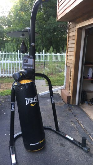 Everlast Heavy bag/speed ball stand + mma and boxing gloves for Sale in Lake Katrine, NY