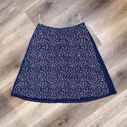 Women's US Size 8 Carven Eyelet Casual Dress Skirt Navy Blue for Sale in Bloomington,  IL