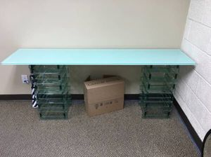 """New White Glass Table H-28"""" W-69"""" D-16"""" With Matching Bookcase for Sale in Tustin, CA"""
