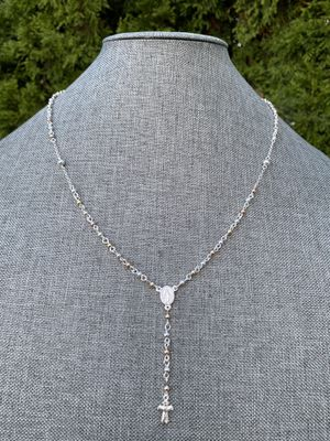 Silver 925 rosary necklace 10k gold plated, 11.5 inches for Sale in Naperville, IL