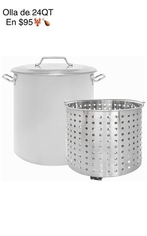 New 24 QT Stainless Steel Stock Pot with Steamer Basket/Olla de 24 quartos, nueva con colador de metal for Sale in Chino, CA