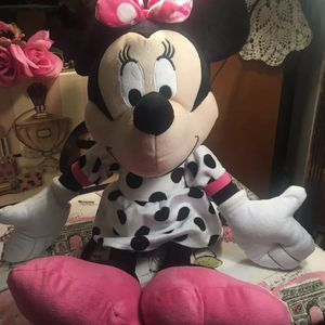 Disney's Minnie Mouse Plush Pristine 20' Black & White Polka Dot With Punk Now And Shoes Clean Nice for Sale in Macedonia, OH
