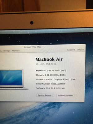 MacBook Air 1.8 ghz intel core i5. 8gm memory 250 gb harddrive for Sale in US