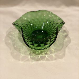 Green Glass Candy Dish Bowl with Ruffled Edges. for Sale in Bakersfield, CA